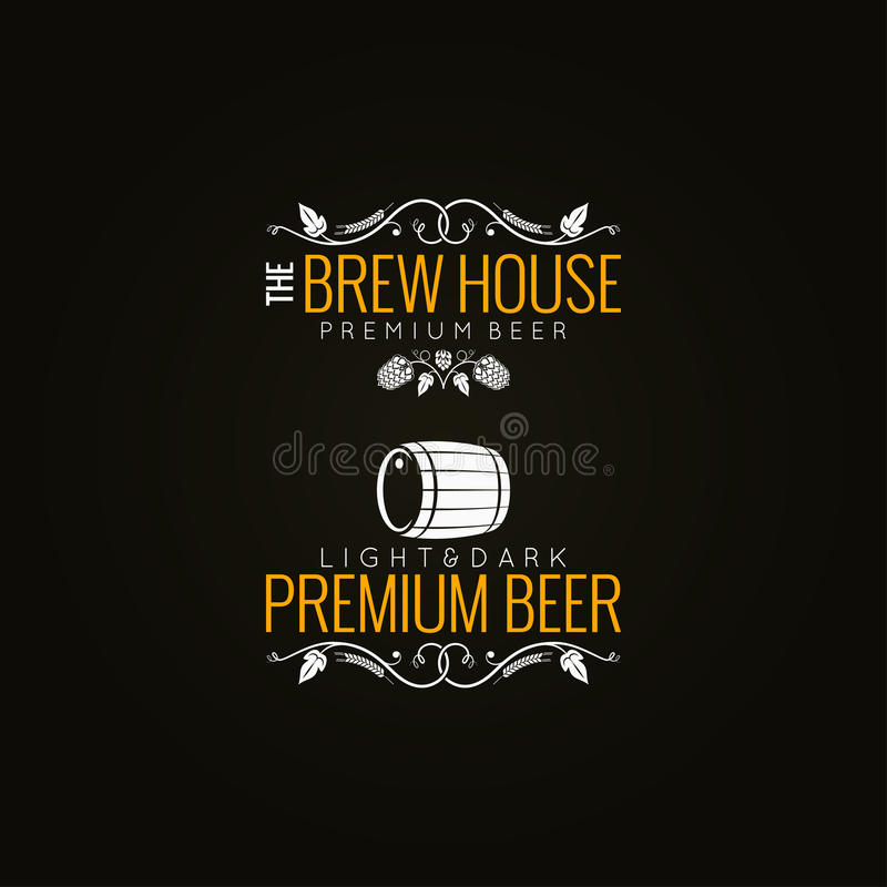 Fundo do grupo de etiqueta da cerveja ilustração do vetor