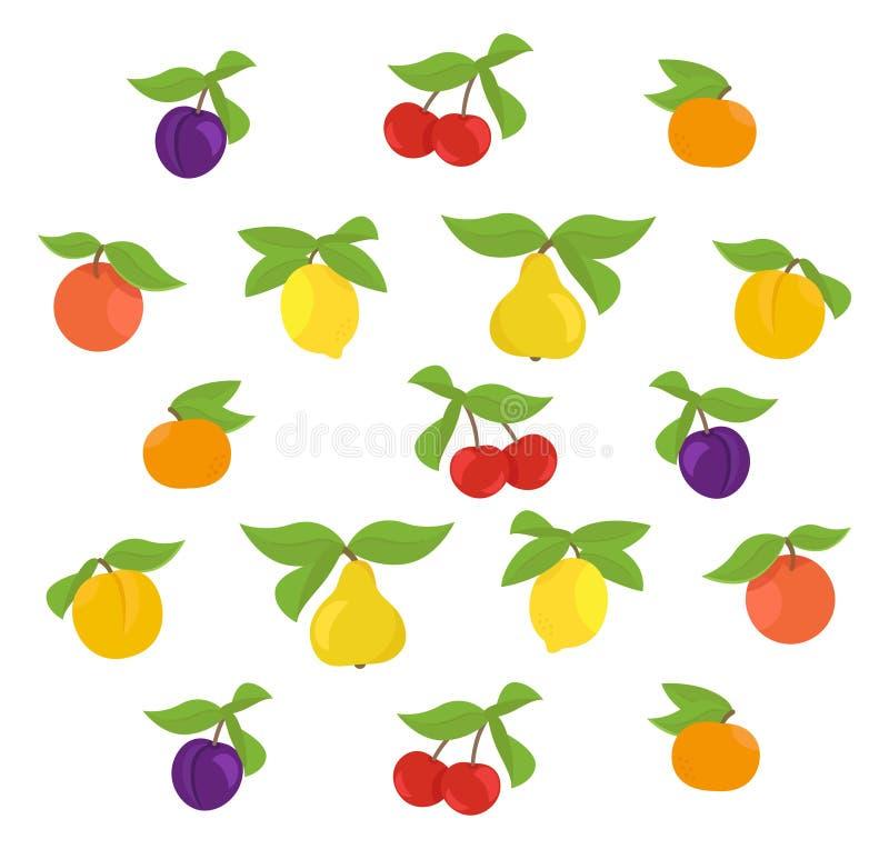 Fundo do grupo dos frutos Pera do mandarino de Apple, do pêssego e do limão Cereja e ameixa Ilustra??o do vetor Colorido com ilustração do vetor
