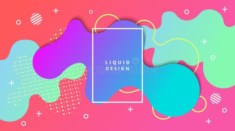Fundo do inclinação líquido com composição fluida da paisagem da forma ilustração royalty free