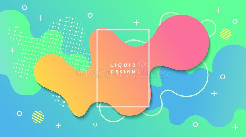 Fundo do inclinação líquido com composição fluida da paisagem da forma ilustração do vetor