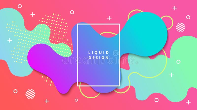Fundo do inclinação líquido com composição fluida da paisagem da forma ilustração stock