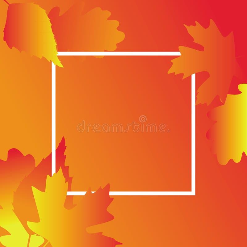 Fundo do inclinação do outono com quadro, ilustração do vetor ilustração royalty free
