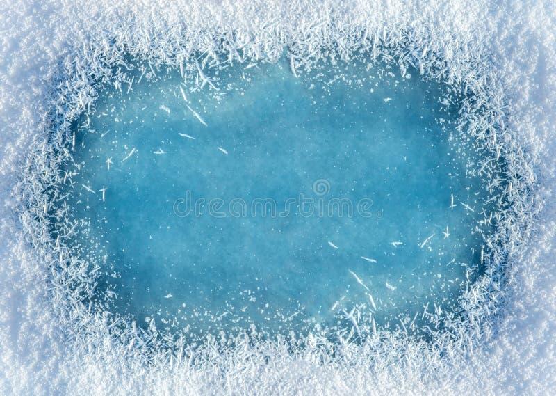 Fundo do inverno: aproximação da textura do gelo e da neve fotos de stock