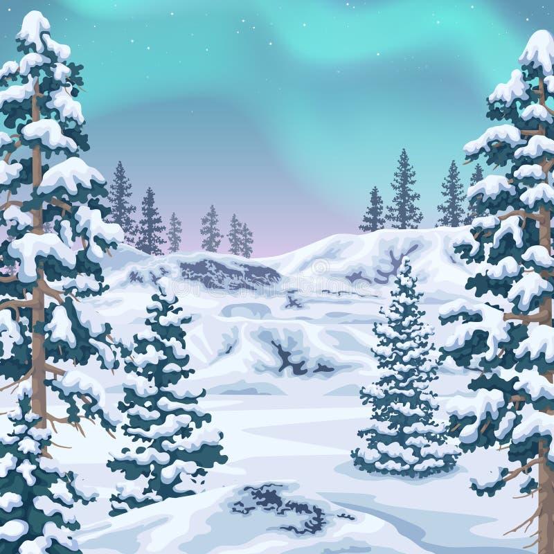 Fundo do inverno com Aurora Borealis ilustração do vetor