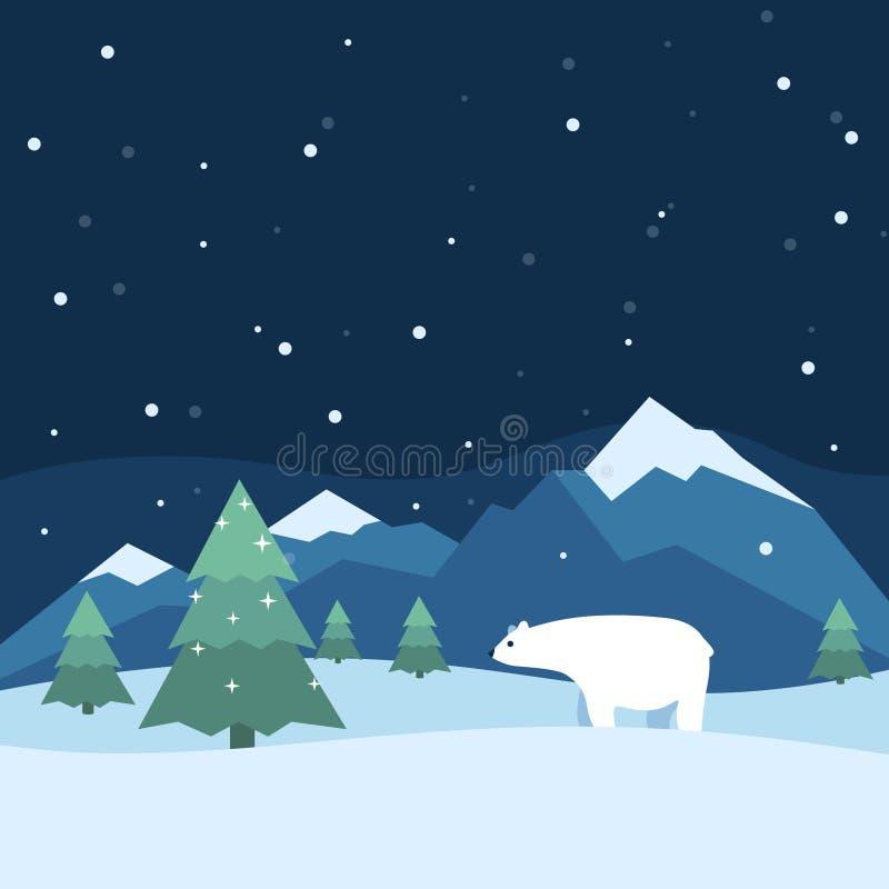 Fundo do inverno com montanhas das árvores imagens de stock