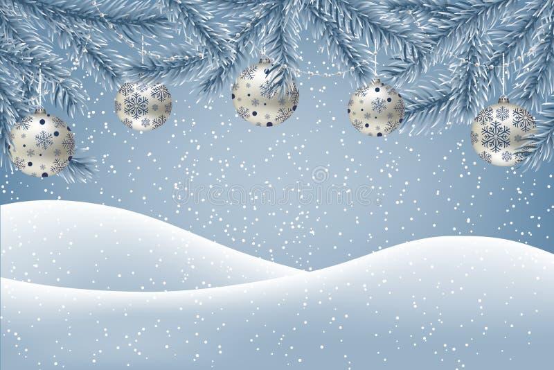 Fundo do inverno com neve de queda, ramos do abeto decorados com quinquilharias do Natal e festões, terra coberta com a neve ilustração do vetor