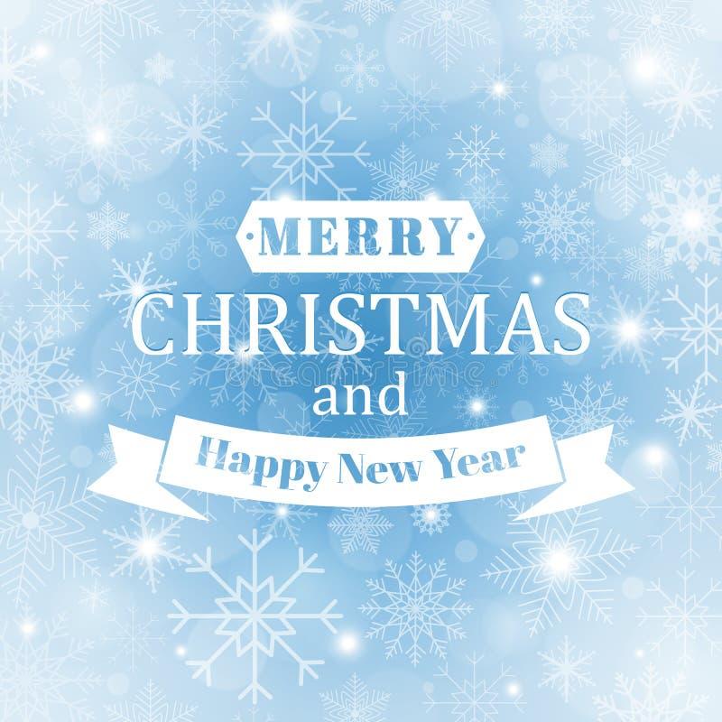 Fundo do inverno com os vários flocos de neve bonitos Fundo azul do sumário do inverno Natal e ano novo feliz ilustração stock