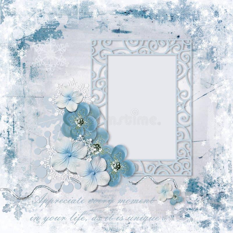 Fundo do inverno com quadro da foto e as flores de encantamento ilustração royalty free