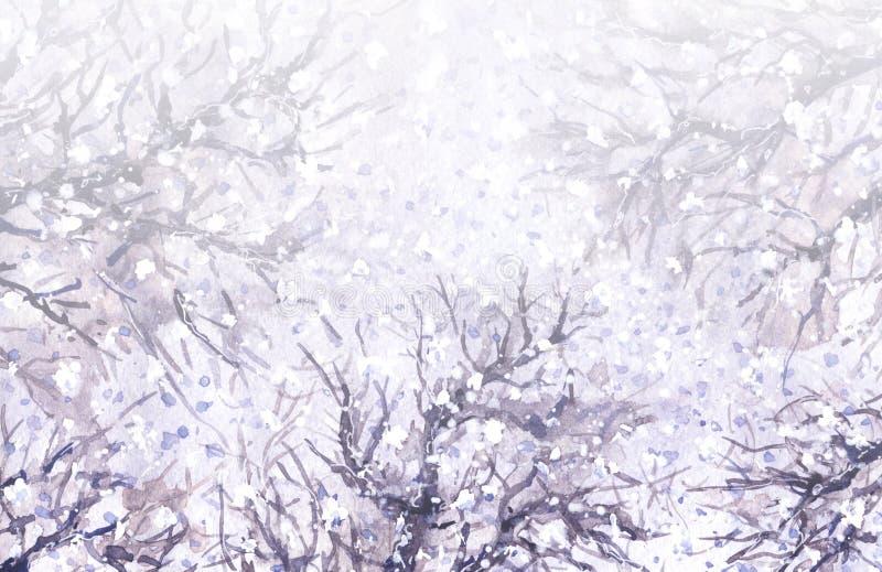 Fundo do inverno com ramos da neve e de árvore ilustração stock