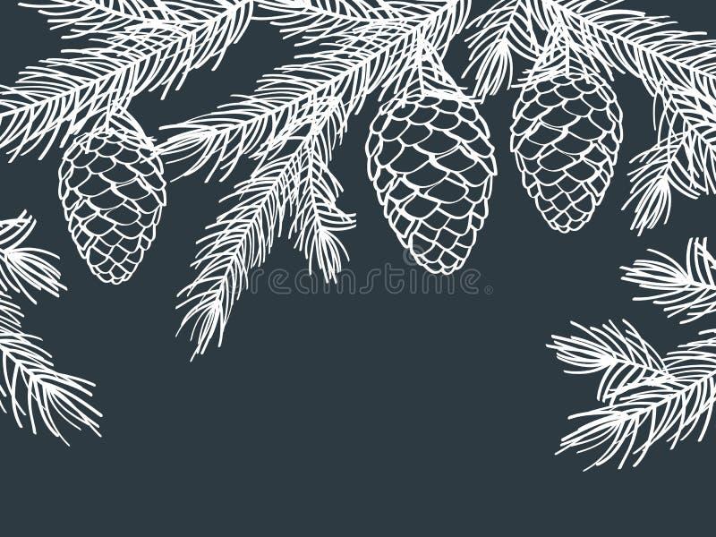 Fundo do inverno com ramos do pinho com cones ilustração royalty free