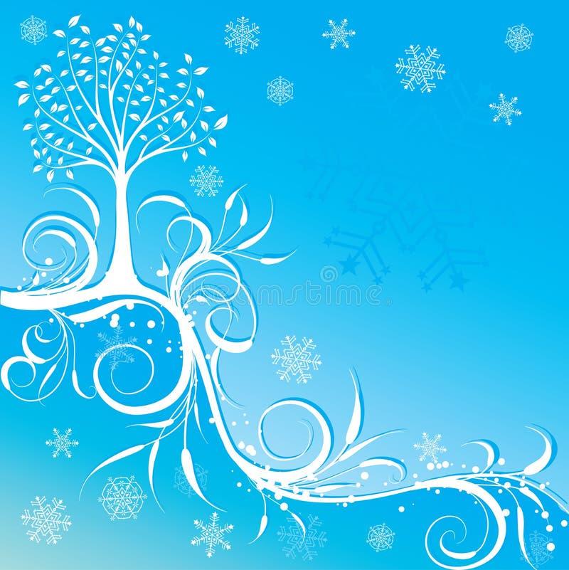 Fundo do inverno da árvore, vetor ilustração stock
