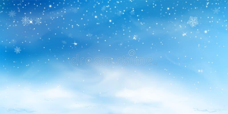 Fundo do inverno da neve Paisagem do céu do Natal com da nuvem, do blizzard, os estilizados e borrado, monte de neve os flocos de ilustração stock