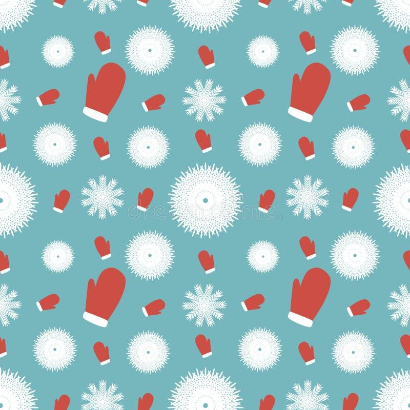 Fundo do inverno dos mitenes e dos flocos de neve ilustração do vetor