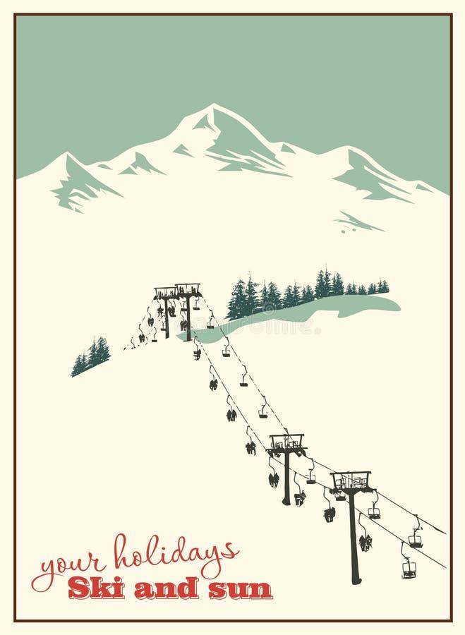 Fundo do inverno Paisagem da montanha com elevador de esqui ilustração royalty free