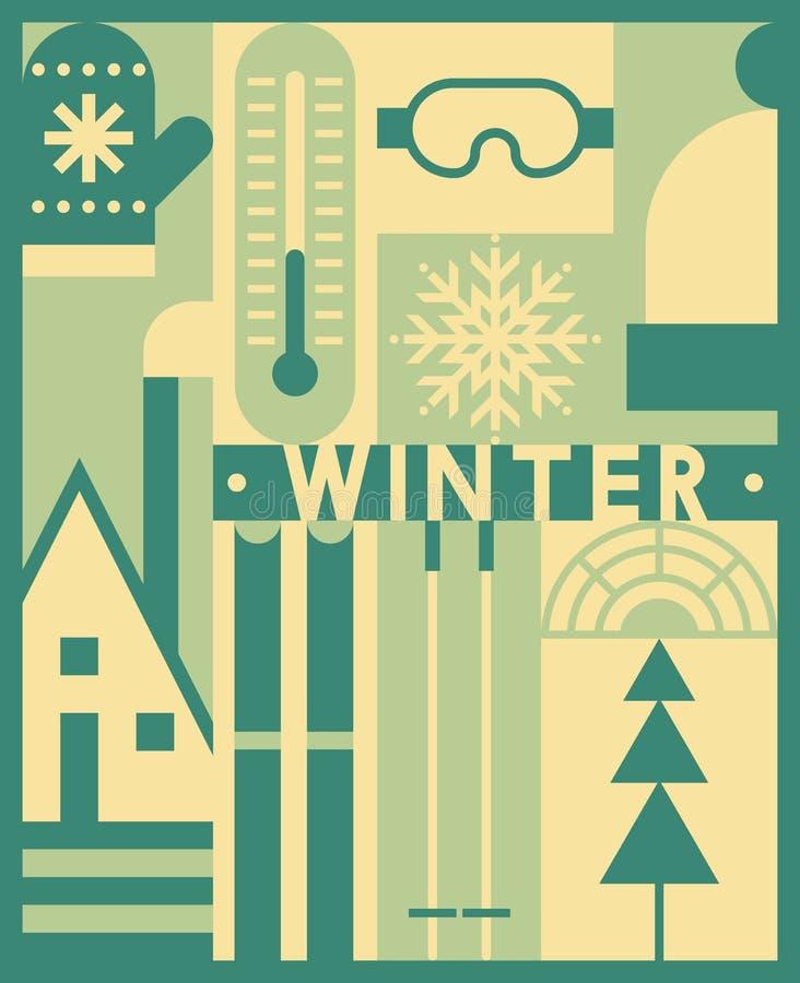 Fundo do inverno do vetor, grupo do ícone ilustração royalty free