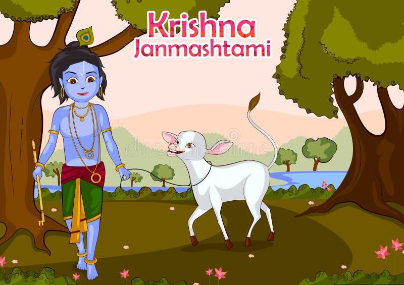 Fundo do janmashtami de Krishna ilustração do vetor