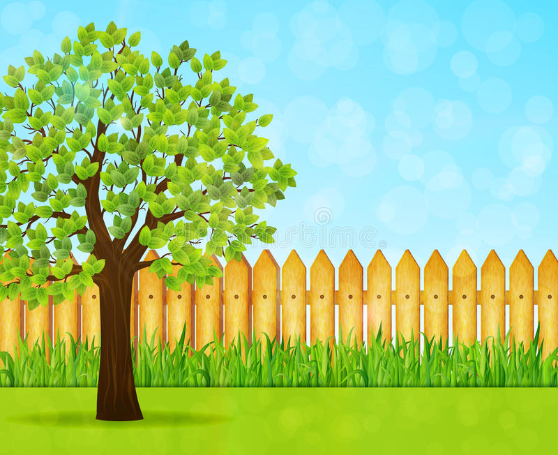 Fundo do jardim com árvore verde e a cerca de madeira fotografia de stock royalty free