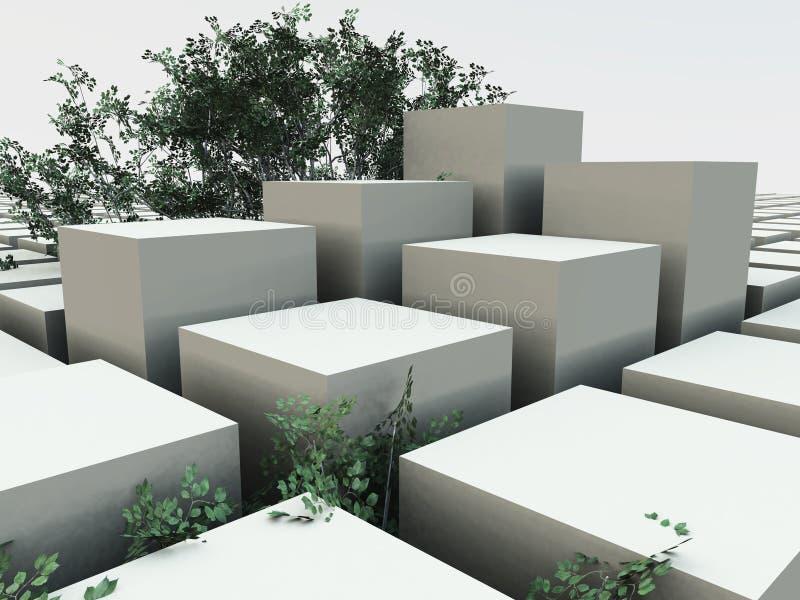 Fundo do jardim do cubo ilustração stock