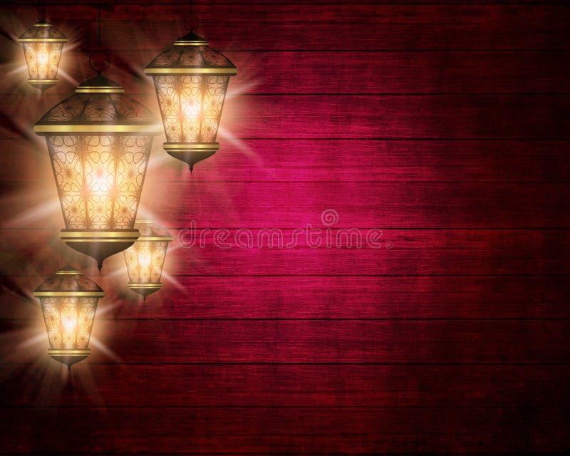 Fundo do kareem da ramadã com lanternas brilhantes ilustração royalty free