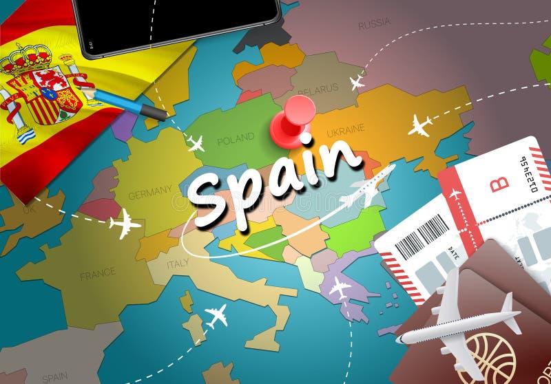 Fundo do mapa do conceito do curso da Espanha com planos, bilhetes Visita S ilustração stock