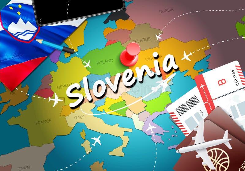 Fundo do mapa do conceito do curso do Eslovênia com planos, bilhetes Curso do Eslovênia da visita e conceito do destino do turism ilustração do vetor