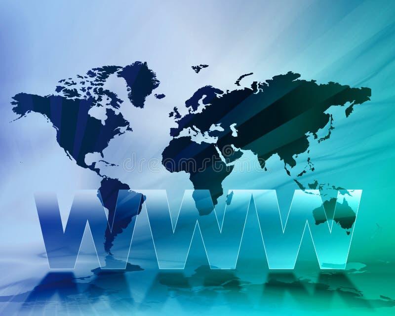Fundo do mapa de mundo de WWW ilustração do vetor