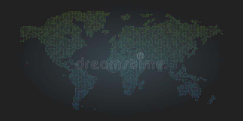 Fundo do mapa de mundo do código binário Símbolos zero e um abstratos Codificando a ilustração de programação do conceito ilustração do vetor