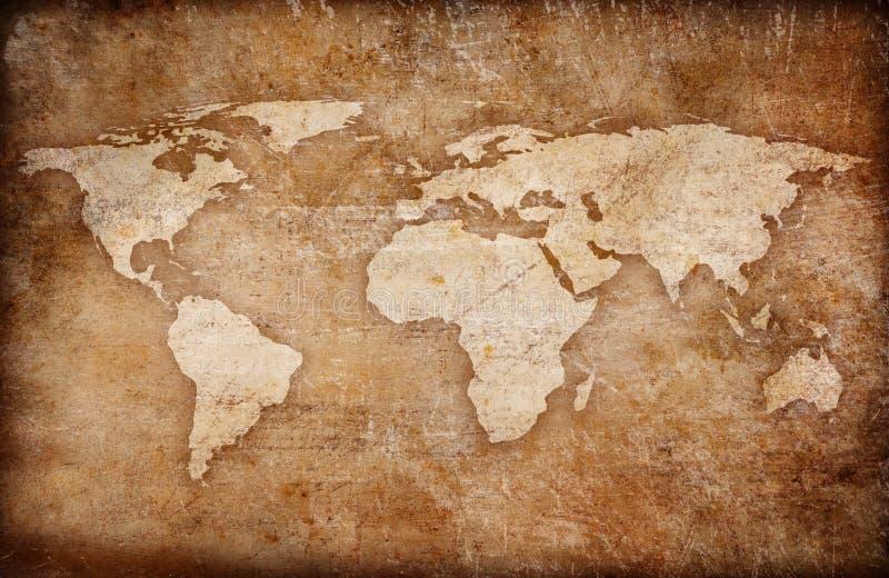 Fundo do mapa de mundo do vintage de Grunge ilustração royalty free
