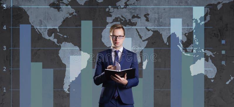 Fundo do mapa de mundo Negócio, globalização, conceito do capitalismo fotografia de stock