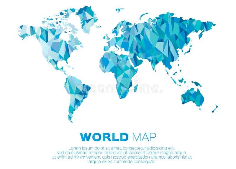 Fundo do mapa do mundo no estilo poligonal ilustração royalty free