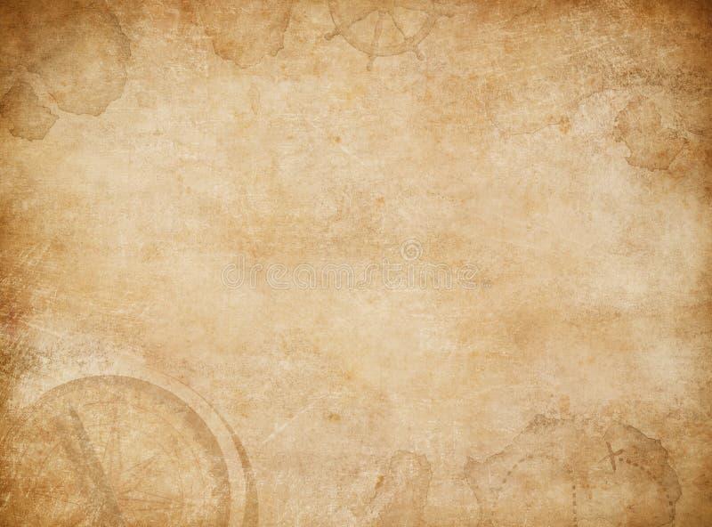Fundo do mapa dos piratas Mapa velho do tesouro com compasso imagens de stock