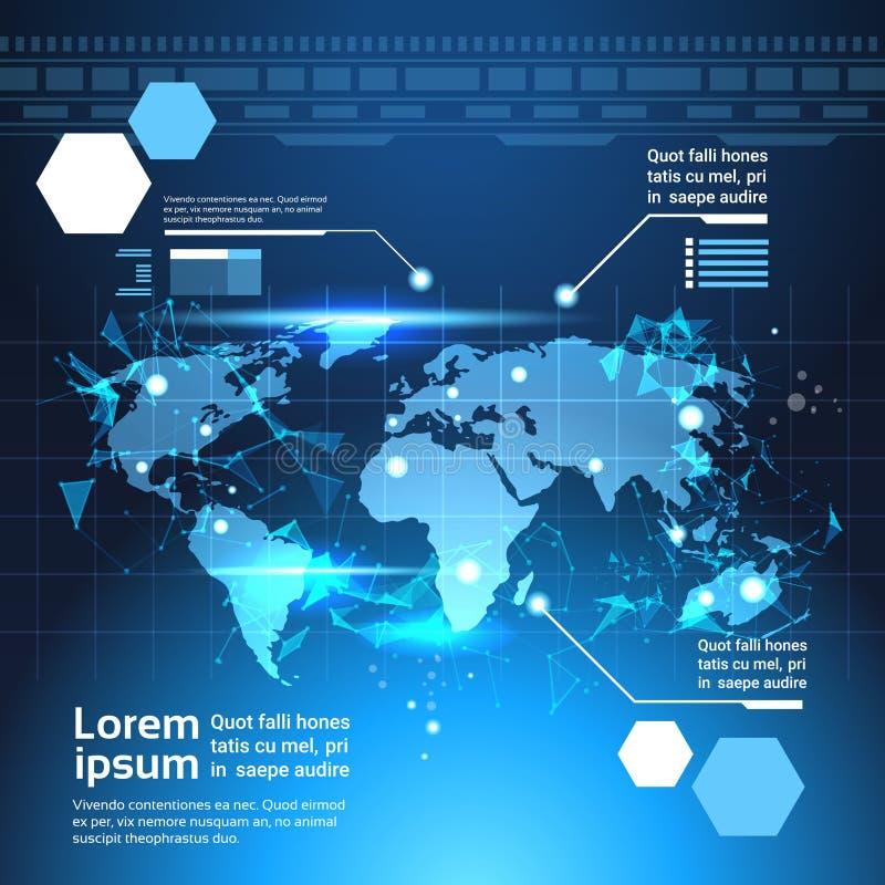 Fundo do mapa do mundo, grupo de cartas futuristas do molde da tecnologia dos elementos de Infographic do computador e gráfico ilustração stock