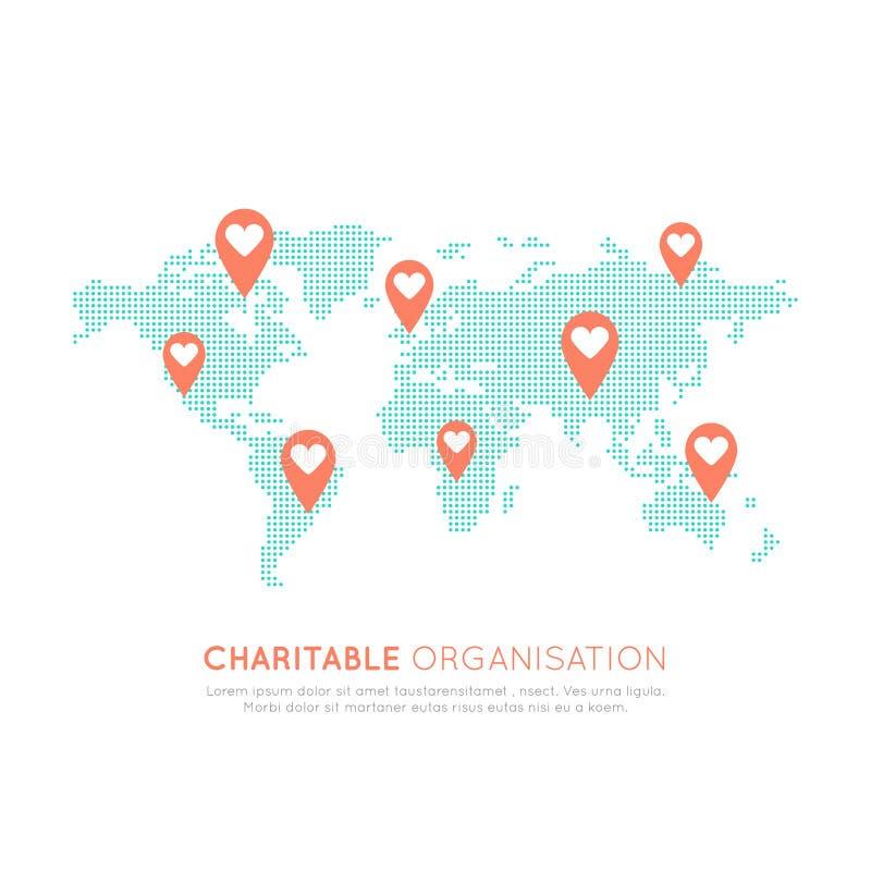 Fundo do mapa para organizações sem fins lucrativos e centro da doação Símbolos Fundraising ilustração royalty free
