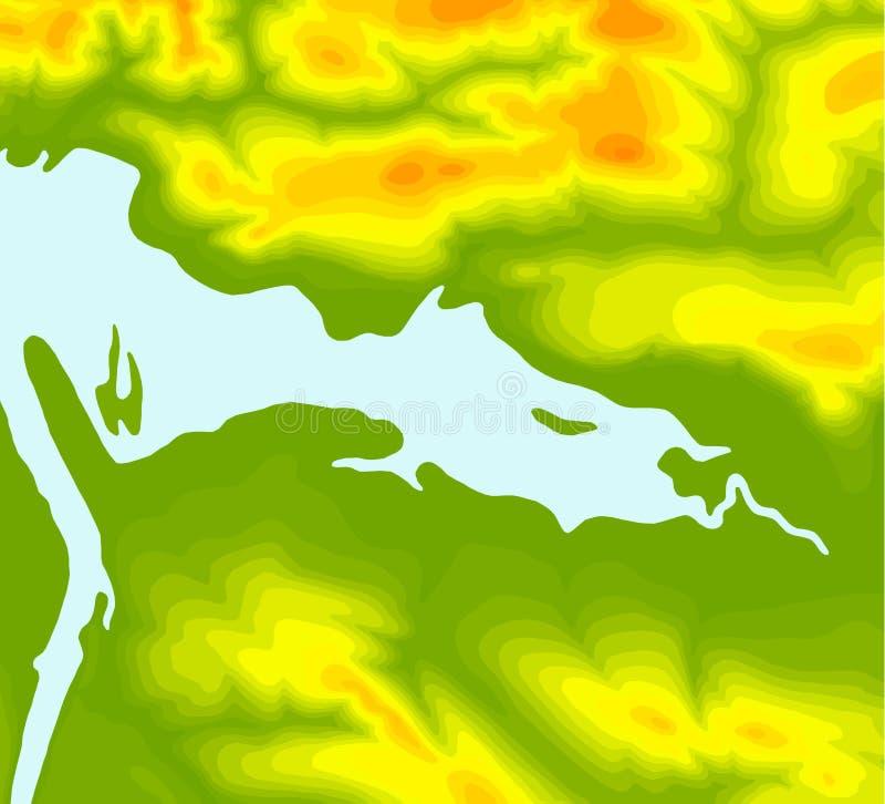 Fundo do mapa topográfico Linhas do mapa topográfico, fundo do contorno Grade abstrata geográfica Ilustração do vetor do EPS 10 ilustração royalty free