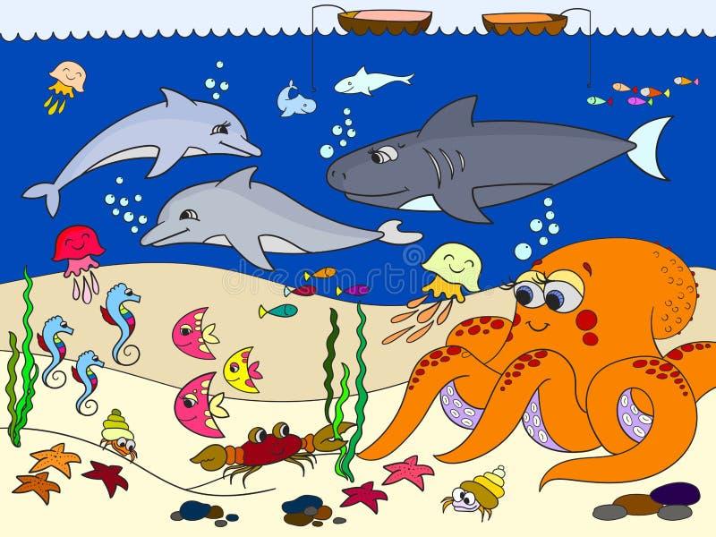 Fundo do mar com animais marinhos Vetor para crianças, desenhos animados ilustração royalty free