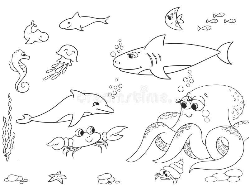 Fundo do mar com objeto dos animais marinhos Coloração para crianças, desenhos animados do vetor ilustração royalty free