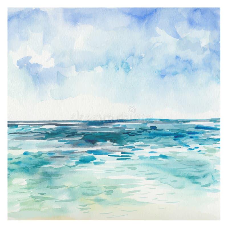 Fundo do mar da aquarela imagens de stock