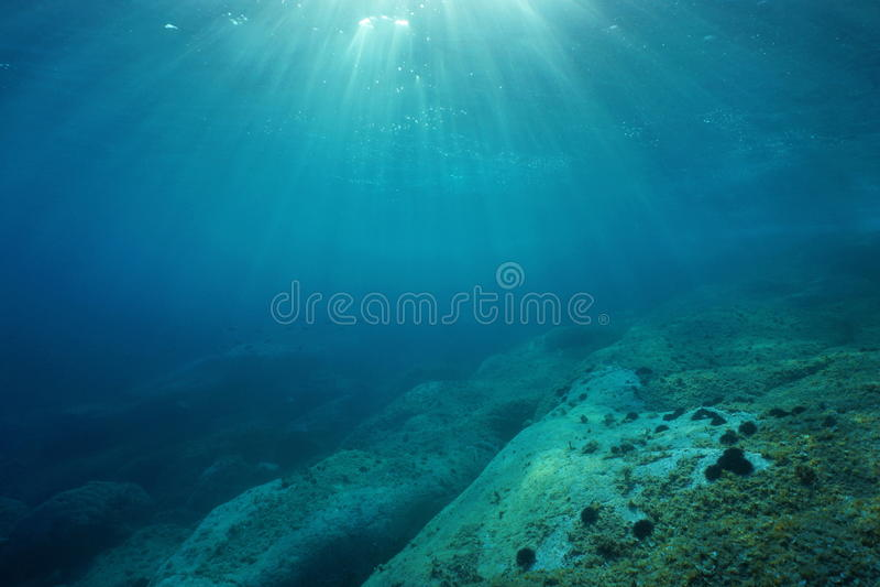 Fundo do mar rochoso do mar Mediterrâneo subaquático da luz solar foto de stock royalty free