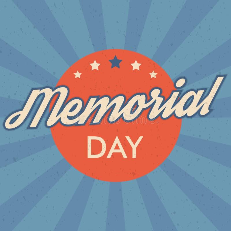 Fundo do Memorial Day Ilustração retro do vetor do estilo com texto e estrelas para os cartazes, insetos nas cores da bandeira do imagens de stock royalty free