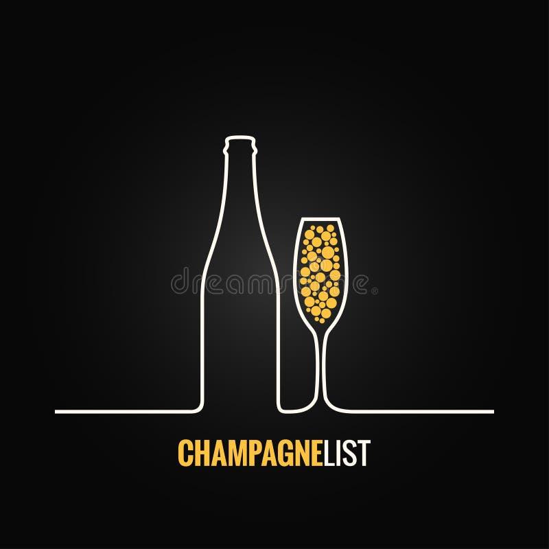 Fundo do menu da garrafa de vidro de Champagne ilustração royalty free