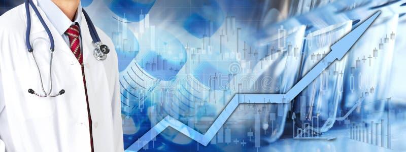 Fundo do mercado de valores de ação dos cuidados médicos ilustração stock
