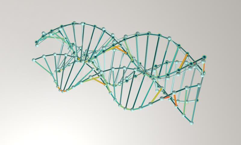 Fundo do modelo do ADN; em 3d branco renda ilustração stock