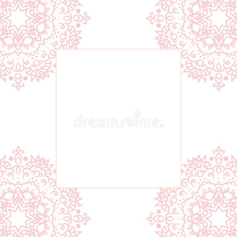Fundo do molde do cartão da mandala do rosa de bebê ilustração stock