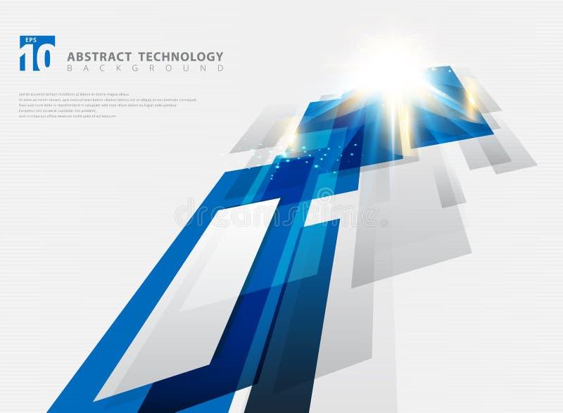 Fundo do movimento da cor azul geométrica abstrata da tecnologia da perspectiva e linhas brilhantes textura com iluminação do efe ilustração royalty free