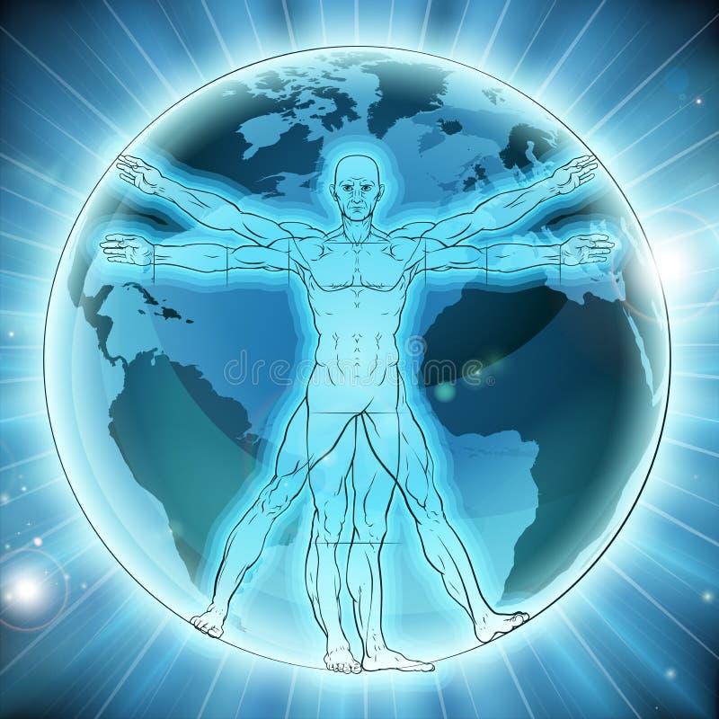 Fundo do mundo do globo da terra do homem de Vitruvian ilustração stock
