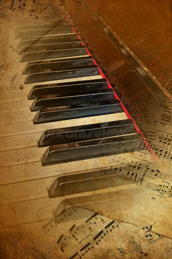 Fundo do musical do piano de Grunge fotos de stock