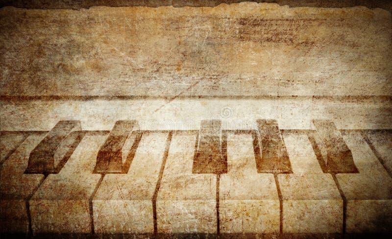 Fundo do musical do piano do grunge do vintage ilustração royalty free