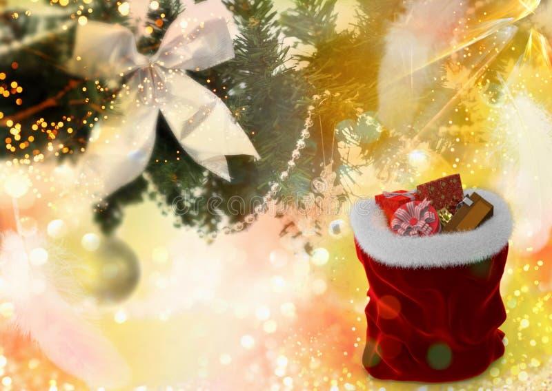 Fundo do Natal: Árvore e presentes de Natal para o Natal fotografia de stock royalty free