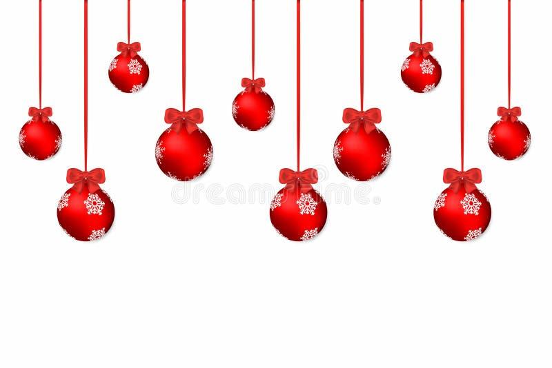 Fundo do Natal Fundo branco do feriado com as bolas e curvas vermelhas do Natal ilustração stock