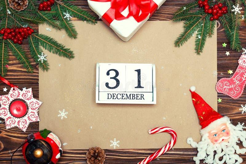 Fundo do Natal Cartão festivo do Xmas, letra para Santa Vista superior Papel de embalagem para cumprimentos do feriado Ano novo,  imagens de stock